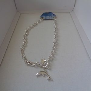 COOL JEWELS sterling silver finished dolphin neckl